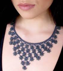 crochet necklace images Midnight blue petals cascade crochet necklace high 5 humans fair jpg
