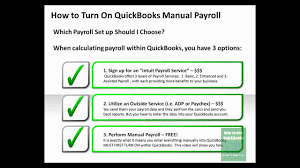 how to turn on quickbooks manual payroll youtube