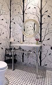 bathroom black and white bathroom geometric wallpaper metal