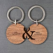 personalised couples set of two wooden keyrings gift