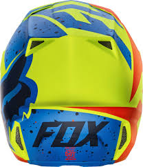 fox helmet motocross fox v2 nirv mx helmet helmets motocross yellow blue fox bmx gloves