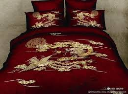 Duvet Bed Set Queen Duvet Covers Comforter Sets 5 Pc Gold Chinese Dragon