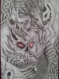 chinese dragon tattoo design demon skull and dragon tattoo design by cassandrawilsonenvyd on