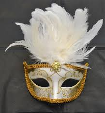 venetian white u0026 gold mask with short feathers masquerade mask