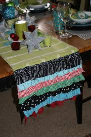 christmas table runner ruffled goodness blue cricket design