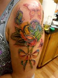 rainbow with flying butterflies on left half sleeve