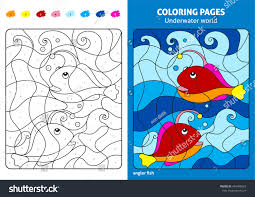 underwater world coloring page kids angler stock vector 464990663