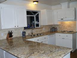 Kitchen Tile Backsplash Ideas With Granite Countertops Kitchen White Cabinets Dark Countertops And Slate Backsplash