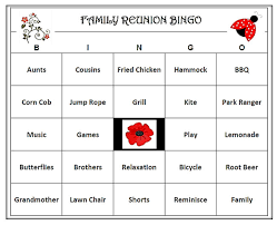 family reunion bingo game 60 cards picnic u0026 family theme