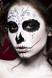 woman mask halloween woman in halloween makeup mexican santa muerte mask photos