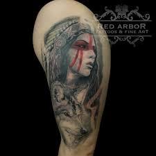 warrior headress wolf by claussen tattoonow
