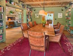 rustic built in bookshelves living room traditional with family