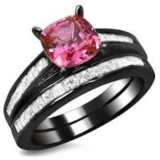 black and pink wedding rings black bridal jewelry sets shop the best wedding ring sets deals