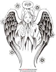 classic black ink angel tattoo design