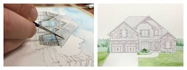 watercolour house paintings for dhp homes brochures and trade show