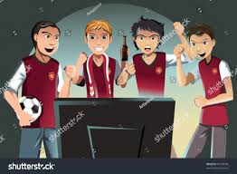 vector illustration soccer fans watching game stock vector