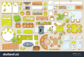 Floor Plan Furniture Clipart Icons Set Interior Top View Isolated Stock Vector 529598401