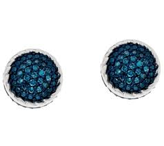 blue stud earrings pave blue diamond stud earrings sterling by affinity page 1