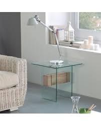 bout de canapé en verre bout de canapé design moderne verre trempé entretoise chêne
