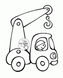 crane truck coloring page for preschoolers transportation