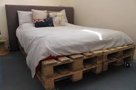 Bed Frame Caster Reclaimed Wood Pallet Platform Bed With Caster Wheels And Gray