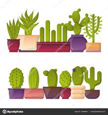 Home Interior Mexico Vector Cartoon House Plant Cactus Background U2014 Stock Vector