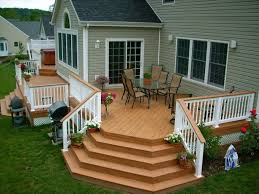 comfortable backyard deck ideas with railing fence designs also