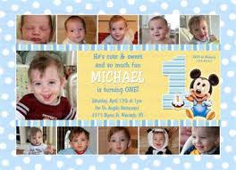 mickey mouse birthday invitations one year photo collage for 1st