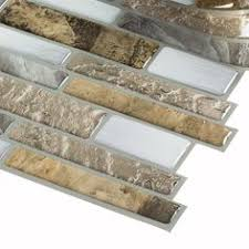 Shop Allen Roth Laser Contempo Beige Mixed Material Glass And - Lowes peel and stick backsplash