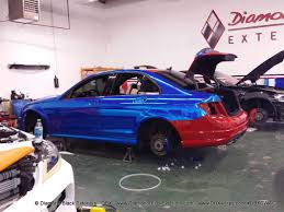 blue mercedes mercedes benz c63 wrapped in avery blue chrome by dbx diamond