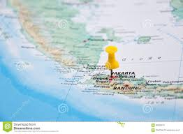 Map Java Jakarta Java Indonesia Yellow Pin Close Up Of Map Stock Photo