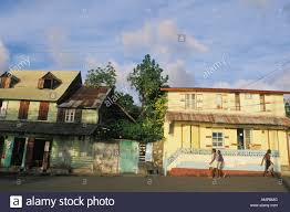 old buildings on waterfront in soufriere in st lucia stock photo