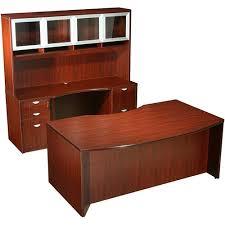curved series p shape desk w credenza u0026 glass door hutch