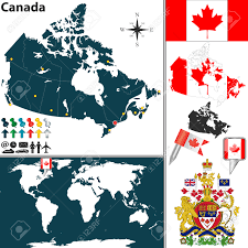 vector map of canada with regions coat of arms and location