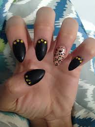 got my claws done new nail design pointed nails cheetah matte
