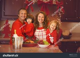 thanksgiving turkey lights happy family four celebrating new year stock photo 317336795