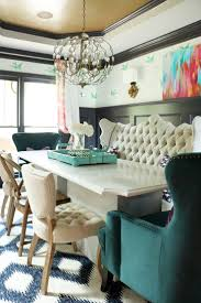 Bench Style Dining Room Tables Eclectic Style Dining Set With Cream Tufted Bench And Green Wing