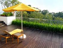 house wooden deck wood outdoor backyard patio in garden stock