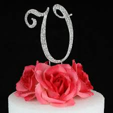 k cake topper letter v cake topper monogram 5 inch silver rhinestone