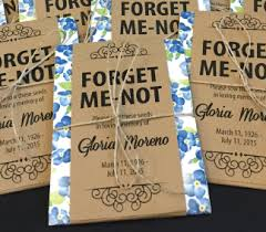 forget me not seed packets blue floral memorial forget me not seed packets gloria s garden