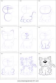 how to draw a cat for kids printable step by step drawing sheet