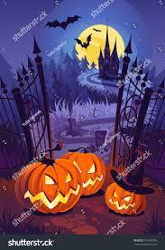halloween purple and orange background halloween pumpkins dark castle on blue stock vector 579162328
