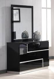 Bedroom Dressers With Mirrors Lucca Dresser And Mirror In Black Lacquer 17685 Dm