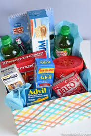 sick care package for a get well basket for my sick medicine candy drink soup