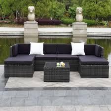 IKayaa PCS Cushioned Outdoor Patio Garden Furniture Sofa Set - Patio furniture sofa sets
