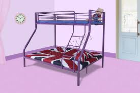 Steel Frame Bunk Beds by Foxhunter New Purple Metal Triple Children Sleeper Bunk Bed Frame