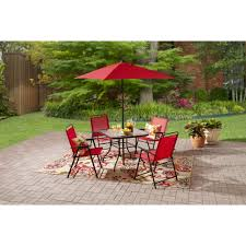 Mainstays Searcy Lane 6 Piece Padded Folding Patio Dining Set - replacement glass for patio table from walmart patio outdoor