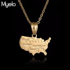 personalized necklaces for women 2017 new usa country map pendant necklace women men gold color