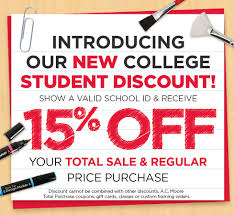 student discount a c moore
