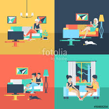 home interior vector flat vector family and at home interior tv stock image
